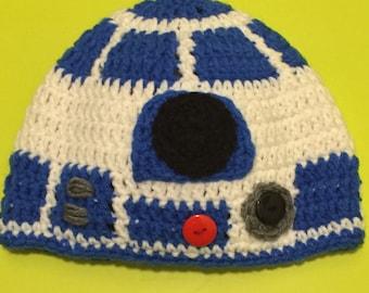 R2D2 beanie- Star Wars inspired hat- handmade- ready to ship
