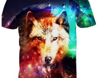 3D Vibrant Wolf T-Shirt