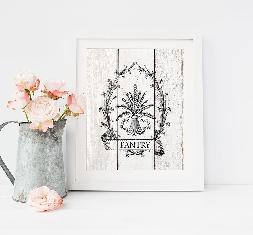 Pantry sign kitchen print french country farmhouse wall for French kitchen artwork