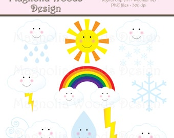 Weather Clip Art, Sun Clip Art, Rainbow Clip Art, Weather Images, Digital Weather Image, Small Commercial Clip Art, School Clip Art