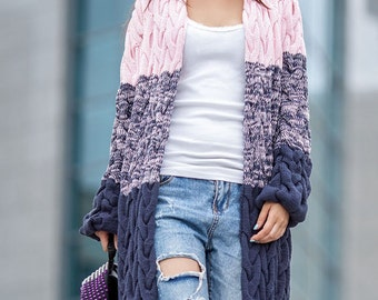 Womens knitted sweater Long oversized sweater Wool knit coat Knit wool sweater Oversized kimono cardigan Winter knit coat Chunky cardigan