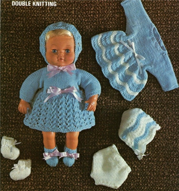 Dolls Clothes PDF Knitting Pattern : 15 inch baby dolly . Tiny