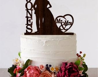 Mr Mrs Cake Topper Wedding African American Couple Personalized Monogram Wooden