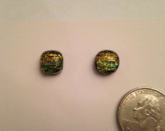CLEARANCE Fused Glass Stud Earrings - Round Yellow and Green Striped