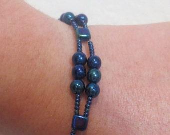 0015-Midnight Blue Swarovski Pearl Bracelet