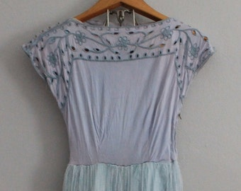 Vintage Blue Tulle Party Dress