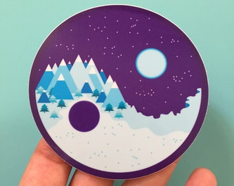 Moon and Mountain Sticker