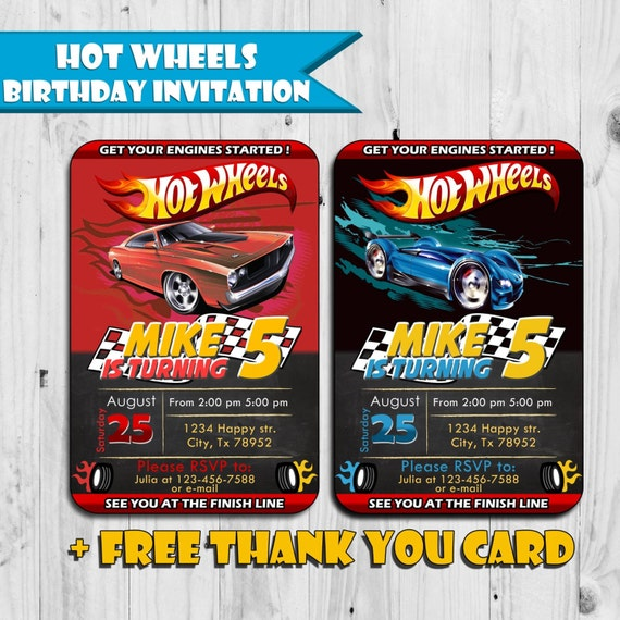 Hot Wheels Inspired Birthday Invitation Free Thank You Card
