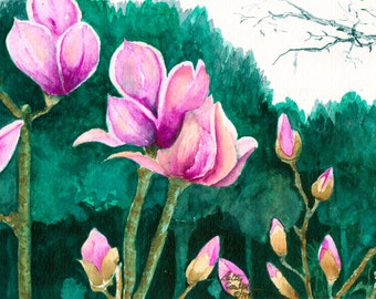 Tulip tree watercolor