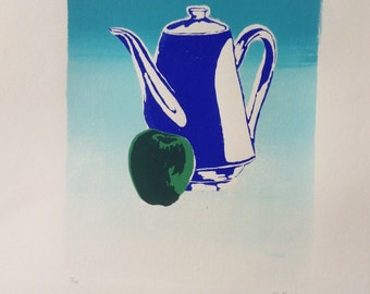 Limited Edition Original Screenprint Still Life with Teapot