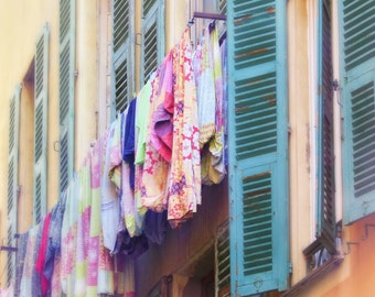 Laundry Day, pastel colours, laundry line, laundry room art, window shutters, turquoise shutters, travel photography, Amalfi Coast, Italy