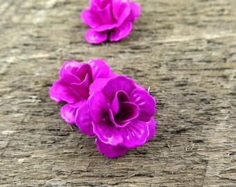 Magenta Pink Flower Cabochons Enameled Metal Rose Cabs (7)
