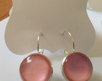 Pink cabochon 14mm handpainted earrings