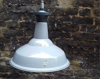 """1950s large grey """"Saaflux"""" industrial pendant light: Rewired and PAT tested"""