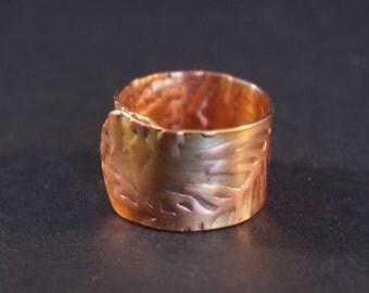 Copper wraparound embossed ring