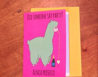Alpaca Prosecco Greeting Card - FREE POSTAGE