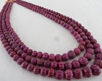 Antique Old 3 Line 621Carats Natural Unheated RUBY CARVED ROUND Beads Necklace