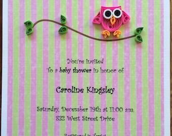 12 Baby Shower Invitations, Birthday Invitations, Girl Baby Shower, Pink Owl Invitations, Quilling Personalized Invitations, Announcements.