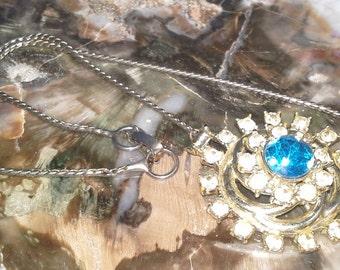 Blue and Crystal Gem Gold-tone Choker
