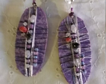 Purple Reign-Handmade Upcycled Purple Shield Earrings with glass beads and 14k gold filled wires.