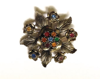Vintage Brooch Signed Little Nemo LN/25 1940's Jewelry Pin Brass Tone Colored Rhinestones