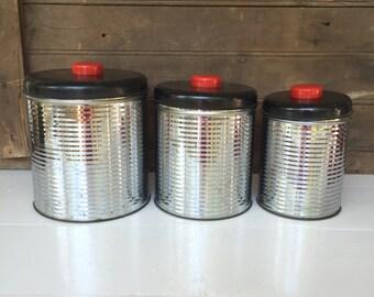 Vintage 3 Piece Metal Kitchen Canister Set - 1950's - Retro