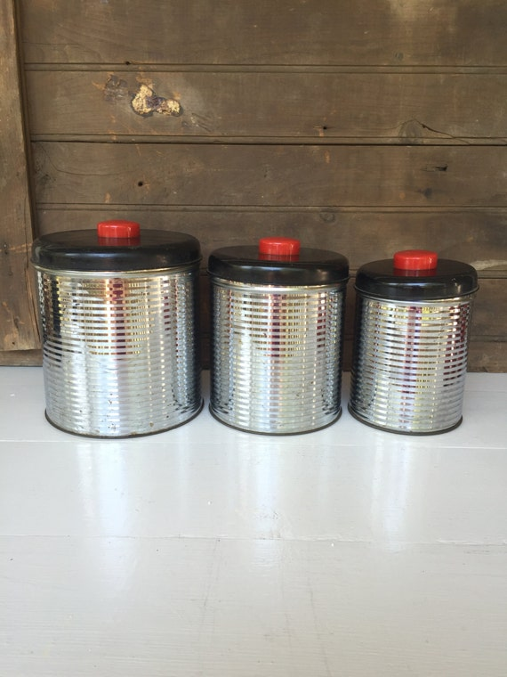 vintage 3 piece metal kitchen canister set 1950 s vintage home metal canisters white set of 3