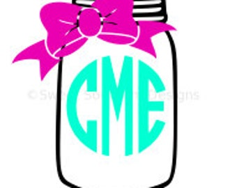 Monogram mason jar with bow SVG instant download design for cricut or silhouette