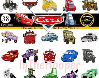 Disney Pixar CARS Embroidery Designs Pes, Hus, Jef, Dst, Exp, Jef+, Vip, Vp3, Xxx