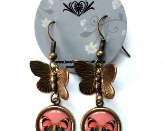 Antique Brass Vintage Style Butterfly Earrings