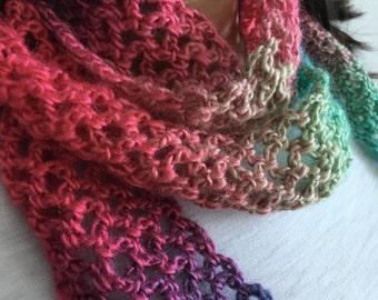 Skinny Knit Scarf, Bright Rainbow, Extra Long