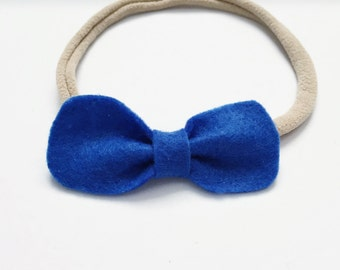 Baby Girl, Toddler, Blue Felt Petite Bow
