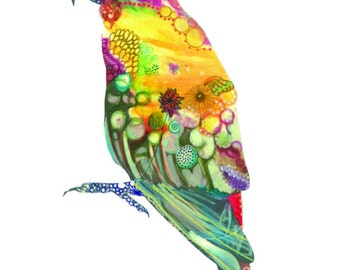 Parrot/Bird/Art Print/Nature/Nursary Decor/Abstract/Mixed Media 5X7""