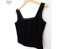 Vintage 1990's Black Velvet Corset, Retro Laura Ashley, Pinup Girl, UK10 US6 EUR36