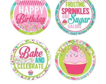 """Cupcake Cutie Digital 2"""" Two Inch Party Circles Girls Birthday Party Printable Baking Cupcake Toppers INSTANT DOWNLOAD"""