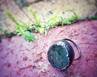 Moss agate ring, size 9 ring, electroformed ring, size S ring, green stone ring, nature jewellery, Virgo birthstone