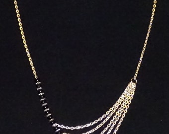 Silver Chain and Black Glass Pearl Necklace; Elegant with a Touch of Rock-N-Roll