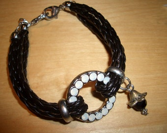 SALE - Leather Bracelet: 3 rows braided with ring - was 20cm - 10,00 euro