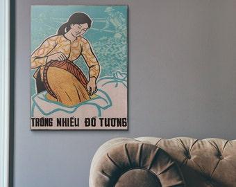 Woman with Soy 1959 Vietnamese War Propaganda Vitnage Wooden Poster