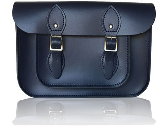 "11"" Classic British Leather Satchel 100% Real Leather - Navy Blue"