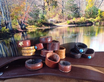13  handmade leather rings