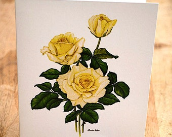 Yellow Rose Stationery by Widely Acclaimed Artist Louise Estes