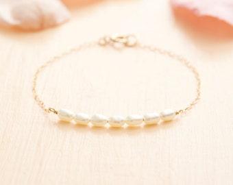 Gold Pearl Bracelet - Pearl Bar Bracelet - Gold Filled Bracelet - Delicate Bracelet - Bridesmaid Gift