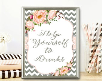 Help yourself to drinks, Bridal Shower Drinks Sign, Shower drinks sign,  Drink table sign, Printable Sign, Bridal shower decor, SPi