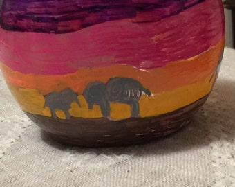Sunset safari bowl with battery candle
