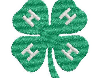 4-H Clover digital embroidery design machine embroidery pattern