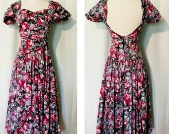 Vintage Laura Ashley Roses Dress