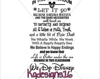 In This Classroom We Do Disney-Wall DecaL-Education-Free Personalization-School-Decor-Teacher-Vinyl