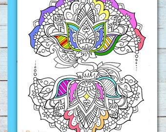 Printable Mandala Lotus Coloring Page