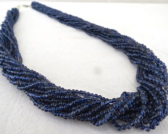 """Best Quality 16 Line 24"""" Natural IOLITE ROUND Beads Bunch NECKLACE With  SiIver Hook"""